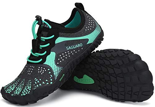 SAGUARO Minimalistas Zapatillas de Trail Running Niños Zapatos de Agua Zapatillas de Deporte Transpirables para Exterior Interior Verde Gr.34