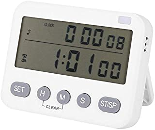 Digital Clock Kitchen Timer, Count Up/Down Cooking Timer with Large Display, Vibration/Flashlight/Loud Alarm, Magnetic Back Stand, Hanging Hole for Cooking, Shower, Bathroom, Kids, Teacher (White)
