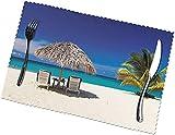 Jamaica Beach - Juego de 6 manteles individuales (poliéster, fácil de limpiar, resistente a altas temperaturas), color blanco