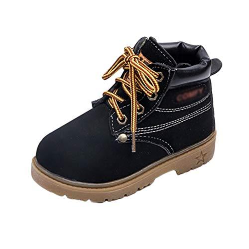 JEELINBORE Martin Stiefel Baby Mädchen Jungen Herbst Winter Schuhe Stiefel Stiefeletten wasserdichte Schneeschuhe (Schwarz, Asien 27)