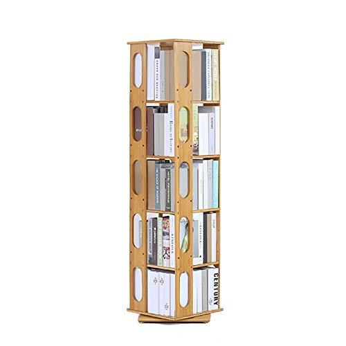 QIANGDA Bücherregal Lagerregale/Badregal Standregal/Büroregal Dreht Um 360 Grad Spielzeug-Display Und Lagerung, Schule Bambusmöbel Platz Sparen, 4 Größen (Size : 5-Tier)