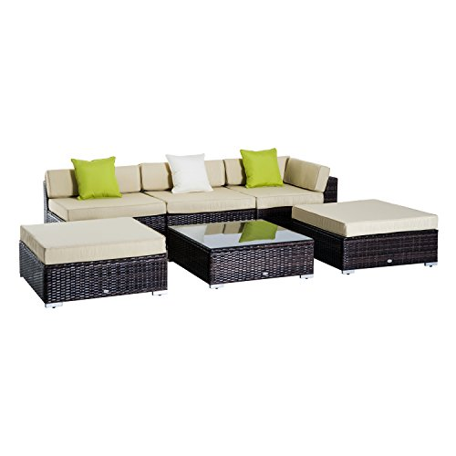 Outsunny 6 PC Rattan Sofa Coffee Table Set Sectional Wicker Weave Furniture for Garden Outdoor Conservatory w/Pillow Cushion Brown