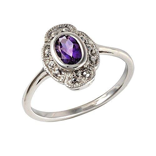 Esse Markasite Sterling-Silber 925 rhodiniert Amethyst Jugendstil, violett, Large