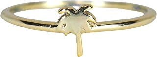Silver or Gold Plated Palm Tree Ring with .925 Sterling Silver, Sizes 5-9