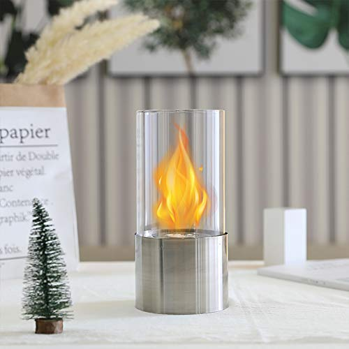 Silber Basis Feuerschale Bio Ethanol Kraftstoff mit Glasrohr Tisch Kamin für Balkon Tagungsraum Wohnzimmer Home Indoor Outdoor