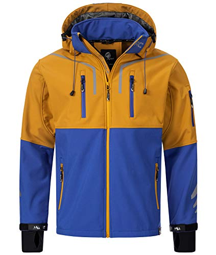 Rock Creek Herren Softshell Jacke Outdoor Jacke Windbreaker Übergangsjacke Anorak Kapuze Regenjacke Winterjacke Herrenjacke Jacket H-222 Royalblau M