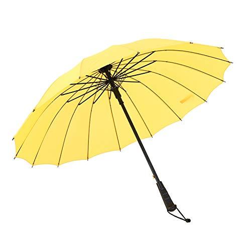 WWDKF Sombrillas De Mango Largo Semiautomático De 16 Huesos, A Prueba De Lluvia Y Viento Al Aire Libre, Puede Bloquear Eficazmente Los Rayos Ultravioleta,A