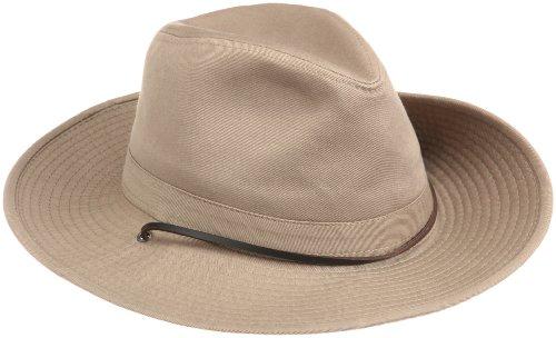 Dorfman Pacific Dorfman Pacific Herren-Hut aus gewaschenem Twill mit seitlichen Druckknöpfen XL Khaki