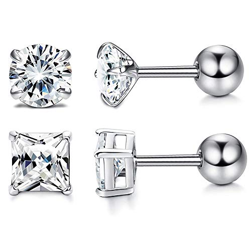 Milacolato 2 Pair 925 Sterling Silver CZ Stud Earring for Women Screw Barbell Tragus Helix Cartilage Earring Set 3-6mm