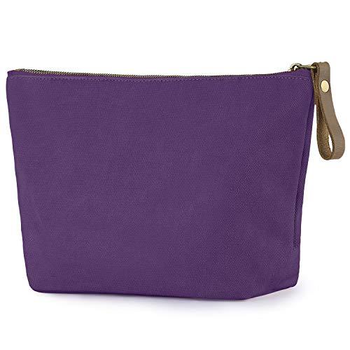 SMRITI Canvas Large Makeup Bag Pouch Purse Cosmetic Organizer for Women(Purple)