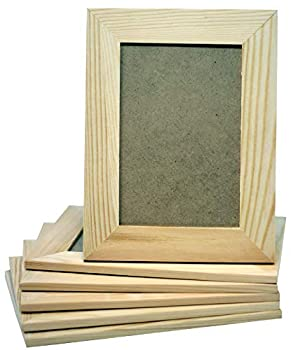 Pack of 6 - Unfinished Solid Pine Wood Picture Frames for Arts & Crafts DIY Painting Project - Stand or Hang on The Wall - 6x8 Frame Size Holds 6x4 Pictures for Adults and Kids Craft