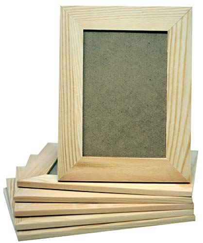 Pack of 6 - Unfinished Solid Pine Wood Picture Frames for Arts & Crafts, DIY Painting Project - Stand or Hang on The Wall - (6x8 Frame Size Holds 6x4 Pictures) for Adults and Kids Craft