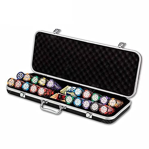 YZJJ Maletín de Póker Aluminio con Fichas Láser Poker Chips, 500 Pieza, Incl. 2 Barajas de Cartas + 1 Ficha de Crupier
