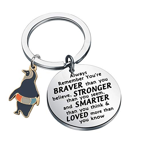 WSNANG Penguin Gifts Keychain Inspirational Penguin Gifts for Penguin Lovers You are Braver Stronger Smarter Than You Think Keychain Penguin Lover Gift Friends Gifts (keychain)
