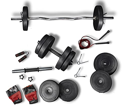Lifelong PVC Home Gym Set 10Kg Plate 3Feet Curl Rod and Dumbbells Rods with Gym Accessories, Black