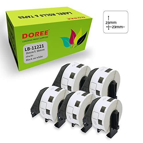 DOREE DK-11221 - Rollos de etiquetas de dirección compatibles (23 x 23 mm) para Brother QL-500, QL-550, QL-570, QL-650TD, QL-700, QL-710W, QL-720NW, QL-800 (1000 etiquetas por rollo), color 5
