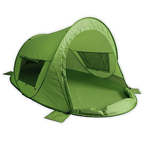 outdoorer Tenda da spiaggia Zack Premium Family, Pop Up Tenda da spiaggia richiudibile, certificata UV 80, protezione solare per la spiaggia (verde)