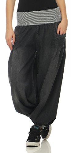Malito Damen Pumphose im Denim Style | perfekte Jeans zum Tanzen | Aladinhose zum Chillen | Haremshose - Goa 6258 (grau)