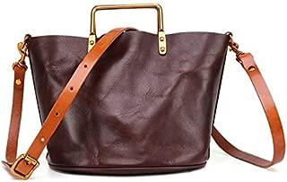 TOOGOO Handmade Shoulder-Slung Back Portable Female Ladies Leather Vegetable Tanned Cowhide Bag in the Bag Tote Bag Retro Yellow Brown