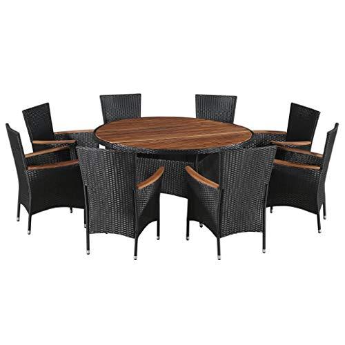 Festnight 9-delige Tuinset poly rattan en acaciahout Eettafel en stoel salontafel voor eetkamer woonkamer keuken zwart