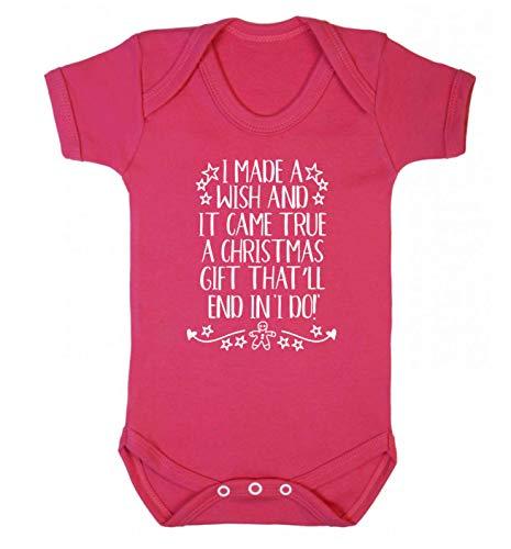 Flox Gilet de Noël pour bébé avec Inscription « Christmas Wish Came True I Do » - Rose - S