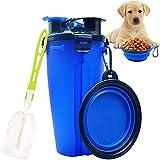 Bebedero Perro Portatil, JYTZ Botella de Agua para Perros Portatil Envase de Comida para Perros con Plegable Tazones y Copa Esponja Cepillo para Gatos Mascotas para al Aire Libre Caminar Viajar (Azul)