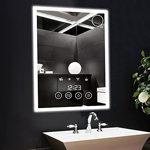 GALOZZOIT 80*60cm Espejo de Baño con Luz LED Rectangular Espejo Scène Illuminé Pantalla Táctil Antiniebla para Sala de Estar Pasillo Vestidor Guardarropa con 3X Espejo Aumento