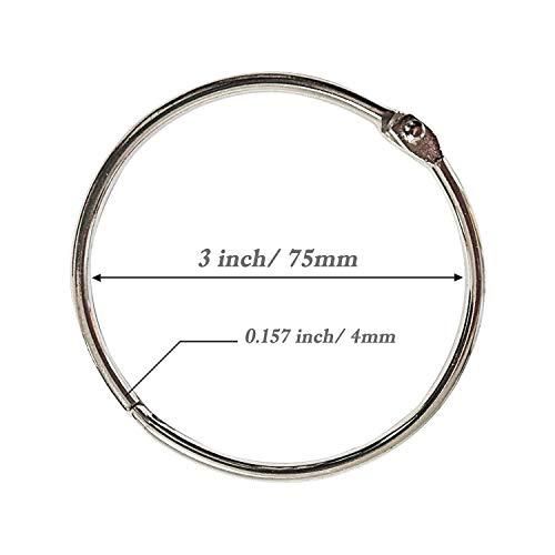 Loose Leaf Binder Rings 3 Inch (12 Pack) Office Book Rings, Nickel Plated Steel Binder Rings, Metal Book Rings, Keychain Key Rings for School, Office and Home
