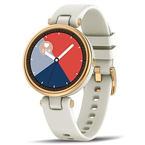 BNMY Smartwatch Mujer Reloj Inteligente Impermeable IP67 Elegante Deportivo Actividad Inteligente Watch con Monitor De Sueño Contador De Caloría Pulsómetros Podómetro para Android iOS,Blanco