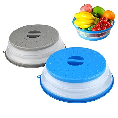 Tapa Microondas 2 Piezas Cubierta del Microondas Tapa de Microondas Plegable Tapa para Microondas Plegable Funda Plegable para Microondas Para Calentamiento por Microondas y Prueba de Salpicad