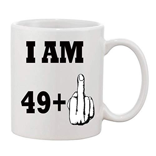 Taza de cerámica taza de té YO SOY 49 + 1 dedo Taza de 50 cumpleaños Taza de café de cerámica impresa de 11 oz