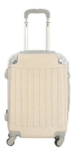 Trolley da cabina 56 cm valigia rigida in ABS policarbonato antigraffio e impermeabile per voli lowcost Easyjet Rayanair art. 2022 (Avorio)