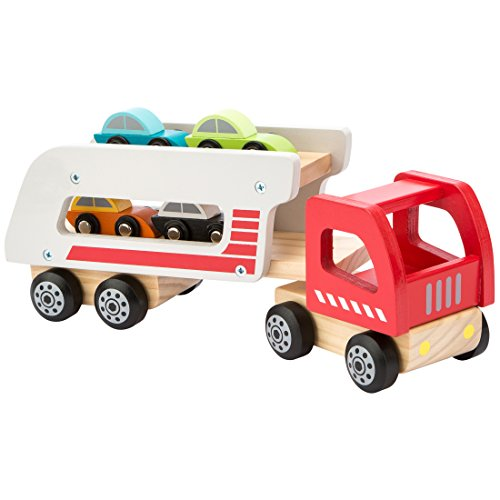 Ultrakidz - Camión portacoches de Madera Natural con 4 Coches y Remolque...