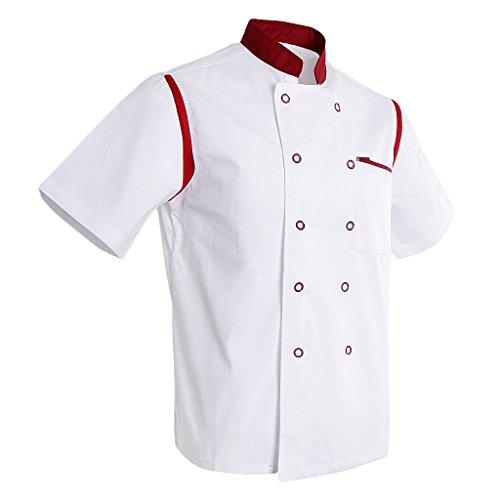 LOVIVER Kochjacke Bäckerjacke Kochbekleidung Kurzarm Koch Jacke mit Knöpfe Gastro Küche Berufsbekleidung - Weiß Rot, M
