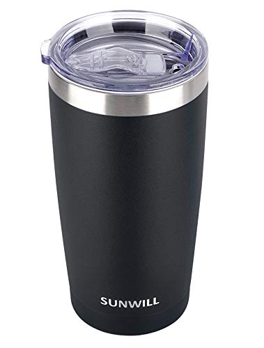 SUNWILL 20oz Tumbler with Lid, Stainless Steel Vacuum Insulated Double Wall Travel Tumbler, Durable Insulated Coffee Mug, Powder Coated Black, Thermal Cup with Splash Proof Sliding Lid
