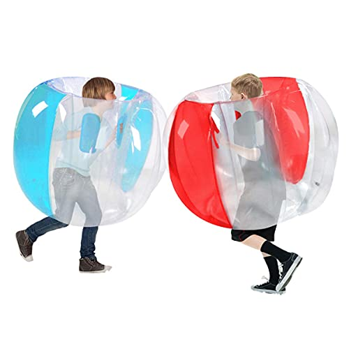 Bumper Balls for Kids 2 Pack(3FT/0.90m), Inflatable Body Bubble Ball Sumo Bumper Bopper Toys, Heavy Duty Durable PVC Vinyl Kids Adults Physical Outdoor Active Play (Red+Blue, 36inch)