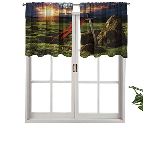 Hiiiman Extra Short Valance Thermal Insulated Window Curtains Arthur Camelot Legend Myth in England Ireland Fields Invincible, Set of 1, 42'x18' Home Decorative Panels for Bathroom