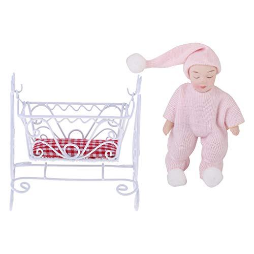 Non brand Lettino A Dondolo Culla in Miniatura 1/12 Casa delle Bambole E Bambola da Notte in Porcellana