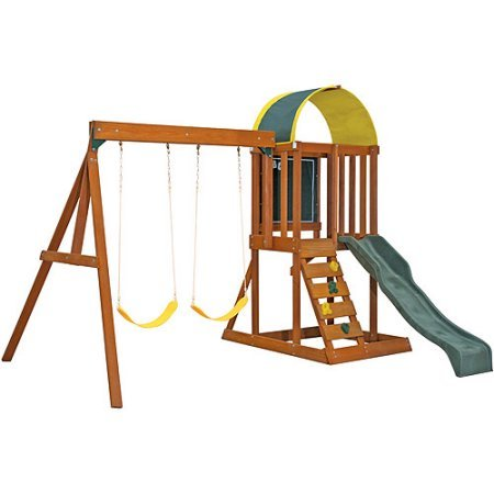 SupremeSaver Premium Play Sets Ainsley Ready to Assemble Wooden Swing Set New