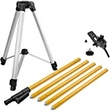 """Firecore 12 Ft./3.7M Professional Telescoping Pole with Tripod and 1/4-Inch by 20-Inch Laser Mount for Rotary and Line Lasers, Adjustable Laser Mounting Pole with 5/8""""-11 Threaded Adapter"""