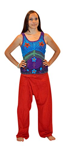 Trendofindia tolle traditionelle Yoga Hose - Sari - in vielen Farben (Rot)