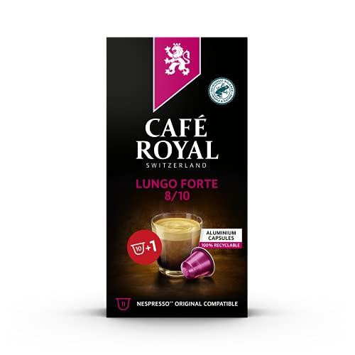 Café Royal Lungo Forte Nespresso®* kompatible Kapseln aus Aluminium - 10+1 Kaffeekapseln - Intensität 8/10 - UTZ - Kompatibel mit Nespresso®* Kaffeemaschinen