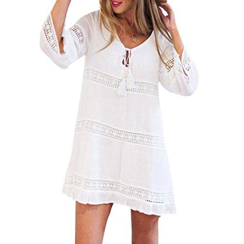 LONUPAZZ Mini Robe De Plage Dentelle Bohème Courte Femme été Manche 3/4 Lâche Dress (Asian XL, Blanc)