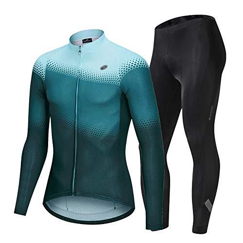 Maillot Ciclismo Hombre Ropa Camiseta Jersey Bicicleta MTB con Mangas Largas, Secado Rápido, Transpirable, Ligero, Ropa MTB, Parte Superior de la Bicicleta,Verde,XL