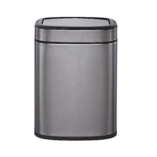 Hogar Bote de Basura Home & DecorationsTrash Can, de huellas digitales a prueba de 6 litros de acero inoxidable tapa del tirón Diseño Reciclaje Parte interior de basura de cocina Eco Residuos Plata Ol