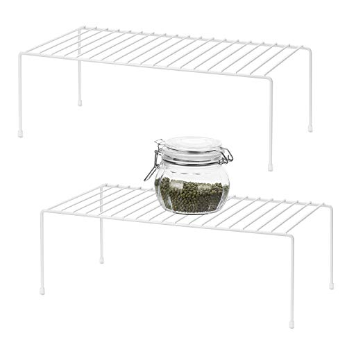 Organizador de armario de cocina Qiwode, estante de alambre de estante de almacenamiento de cocina para gabinetes de armario de cocina (paquete de 2)