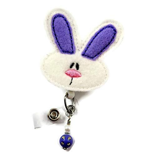 Bunny Purple Ears - Nurse Badge Reel - Retractable ID Badge Holder - Nurse Badge - Badge Clip - Badge Reels - Pediatric - RN - Name Badge Holder