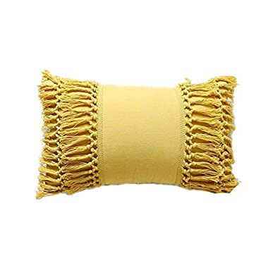Tassel Throw Pillow Mustard Yellow Cotton Pillowcase Cushion Covers ,12 X20