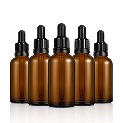 FRCOLOR Flacon compte-gouttes en verre, bouteille ambre vide avec flacon en verre avec compte-gouttes Huile essentielle flacon compte-gouttes avec com