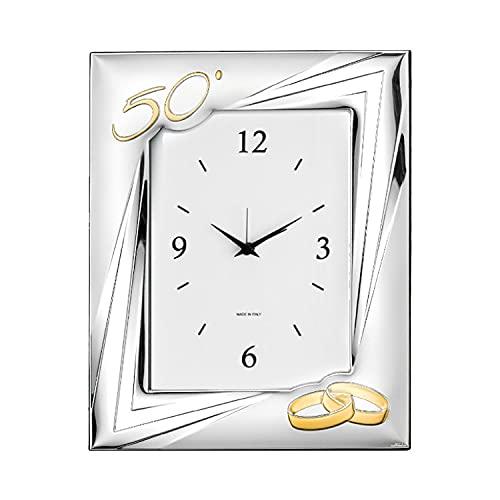 Valenti - Reloj de mesa laminado en plata - Números - Retro madera - Recorriente: 50º aniversario cód. 52033 4ORL